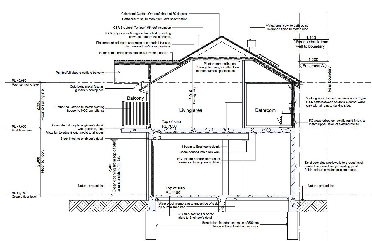 Bathroom section drawing -  This Detached Double Garage Also Offers Self Contained Accommodation Comprising Living Dining Kitchen Sleeping And Bathroom Plus A Balcony