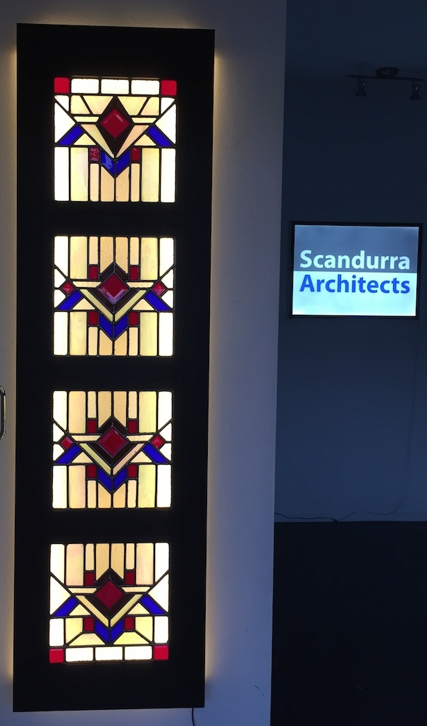 Scandurra Architects office: leadlight light screen, designed & fabricated by John Scandurra, Architect.